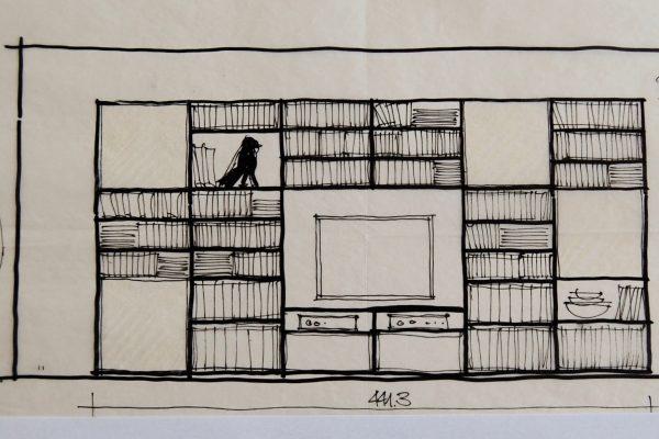 Bücherwand Skizze