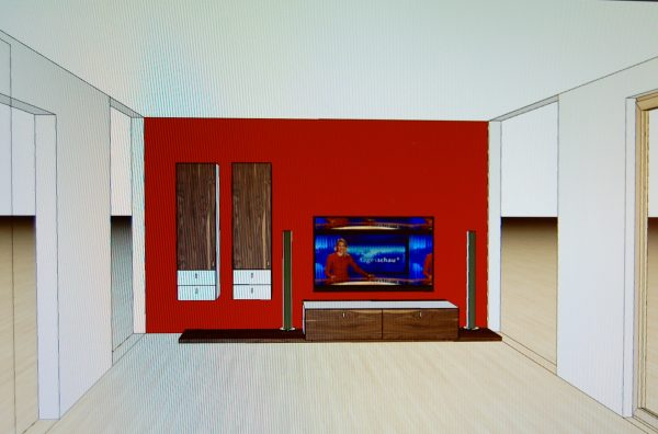 Möbelplanung Wohnwand Entwurf